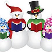 Snowman Christmas Carolers Illustration Poster