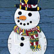 Snowman Winter Fun License Plate Art Poster