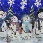 Snowmen Enjoy The Beauty Photo Art Poster
