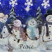 Snowmen Peace Photo Art Poster