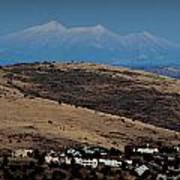 Snowy Arizona Peaks And Prairie Hills Poster