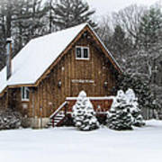 Snowy Country Cottage Poster