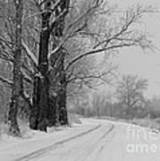 Snowy Country Road - Black And White Poster