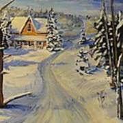 Snowy Country Road Poster