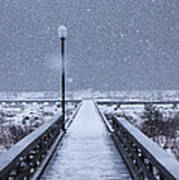 Snowy Day On The Boardwalk Poster