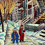 Snowy Day Rue Fabre Le Plateau Montreal Art Winter City Scenes Paintings Carole Spandau Poster