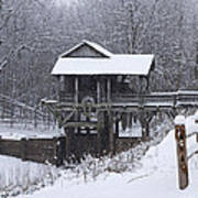 New Salem Grist Mill In The Snow Clr Poster