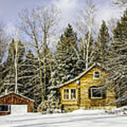 Snowy Log Home Poster