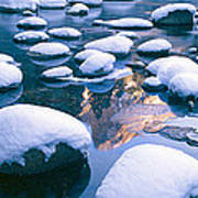 Snowy Merced River With Reflection Poster