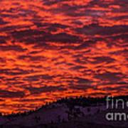 Snowy Mountain Sunset Poster