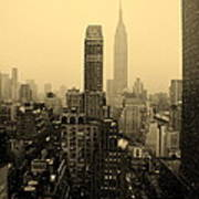 Snowy New York Skyline Poster