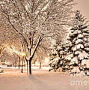 Snowy Night At Windom Park Poster