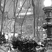 Snowy Night In Bryant Park II Poster