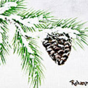 Snowy Pine Poster by Judy M Watts-Rohanna
