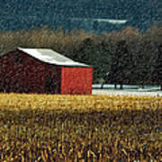 Snowy Red Barn In Winter Poster