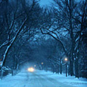 Snowy Road On A Winter Evening Poster