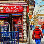 Snowy Walk By The Tea Room And Pastry Shop Winter Street Montreal Art Carole Spandau  Poster
