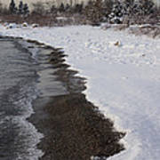 Snowy Winter Beach Patterns - Lake Ontario Toronto Canada Poster