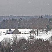 Snowy Winter Farmscape Poster