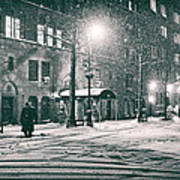 Snowy Winter Night - Sutton Place - New York City Poster