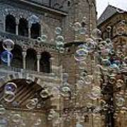 Soap-bubbles In Front Of An Ancient Cathedral Poster