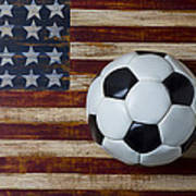 Soccer Ball And Stars And Stripes Poster