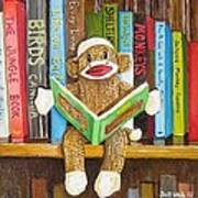 Sock Monkey Reading A Book Poster