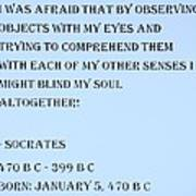 Socrates Quote In Cyan Poster