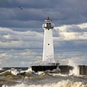 Sodus Outer Lighthouse On Stormy Lake Poster