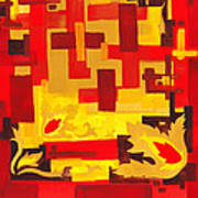 Soft Geometrics Abstract In Red And Yellow Impression I Poster