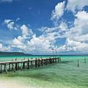 Sok San Pier On Long Beach In Koh Rong Island Cambodia Poster