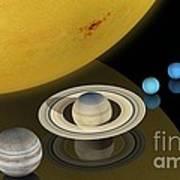 Solar System Size Comparison Poster