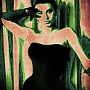 Sophia Loren - Green Pop Art Poster by Absinthe Art By Michelle LeAnn Scott