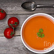Soup On Wood Table Poster by Jane Rix