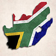 South Africa Map Art With Flag Design Poster
