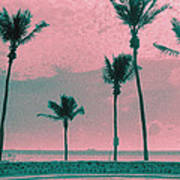 South Beach Miami Tropical Art Deco Five Palms Poster