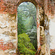 South Carolina Historic Church Photo Sheldon Ruins-- Another View From The Inside Poster