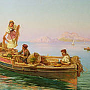 South Italian Fishing Scene Poster