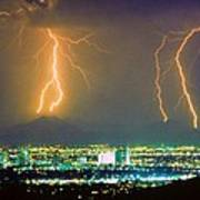 South Mountain Lightning Strike Phoenix Az Poster
