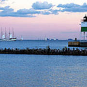 Southeast Guidewall Lighthouse At Sunset And Tall Ship Windy Poster