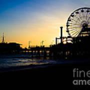 Southern California Santa Monica Pier Sunset Poster