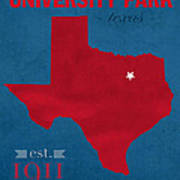 Southern Methodist University Mustangs Dallas Texas College Town State Map Poster Series No 098 Poster