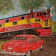 Southern Pacific Train 1951 Kaiser Frazer Car Rr Crossing Poster