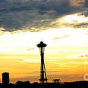 Space Needle Sunset Sillouette Poster