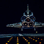 Space Shuttle Night Landing Poster