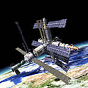 Space Station In Orbit Around Earth Poster
