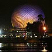 Spaceship Earth At Night Poster