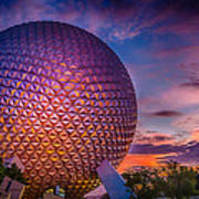 Spaceship Earth Glow Poster