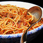 Spaghetti And Meat Sauce With Spoon Poster
