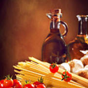 Spaghetti Pasta With Tomatoes And Garlic Poster